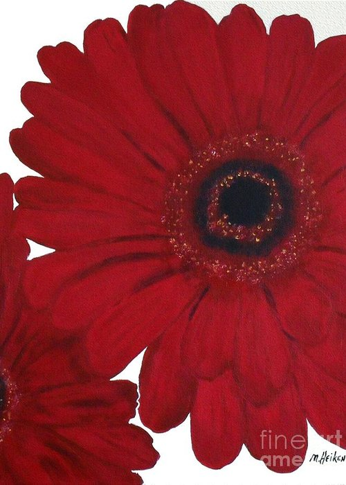 Painting Greeting Card featuring the painting Red Gerber Daisy by Marsha Heiken