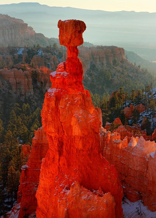 Bryce Greeting Card featuring the photograph Red Glow Of The Sunrise On Thor's Hammer In Bryce Canyon by Pierre Leclerc Photography