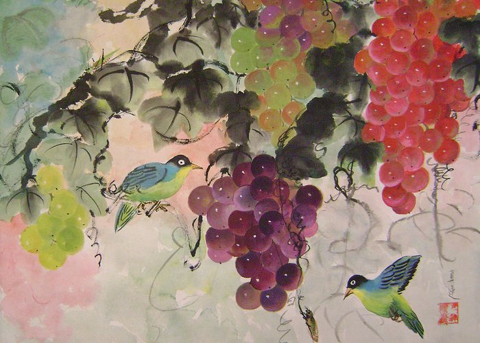 Water Colour Greeting Card featuring the painting Red Grapes And Blue Birds by Lian Zhen