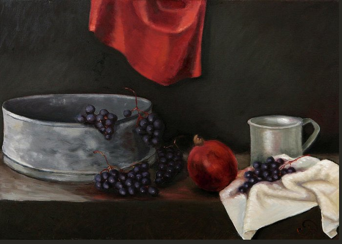 Still-life Dark Brown Red Grapes Blue Drapery Greeting Card featuring the painting Red Grapes by Raimonda Jatkeviciute-Kasparaviciene