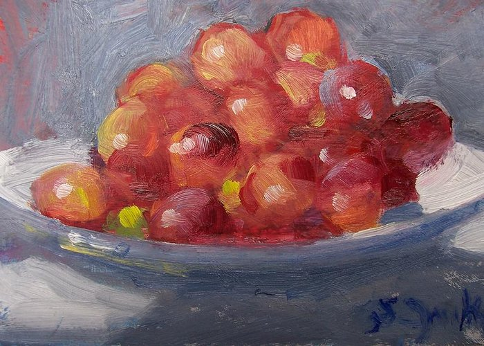 Grapes Greeting Card featuring the painting Red Grapes by Susan Jenkins