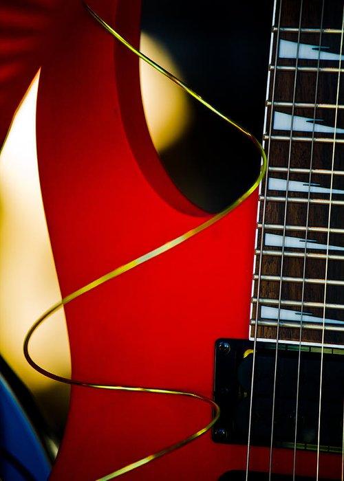 Hakon Soreide Greeting Card featuring the photograph Red Guitar by Hakon Soreide
