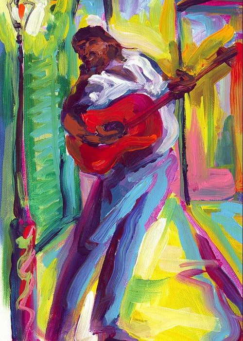 Red Greeting Card featuring the painting Red Guitar by Saundra Bolen Samuel