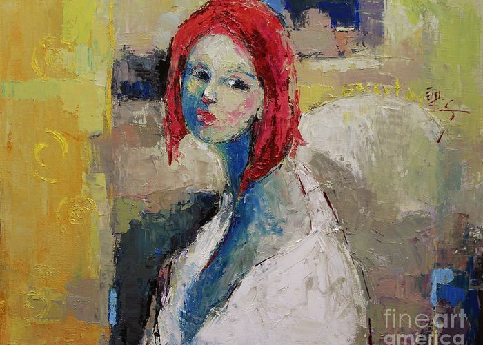 Oil Greeting Card featuring the painting Red Haired Girl by Becky Kim