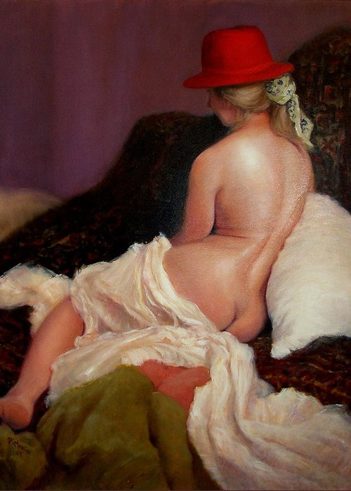 Realism Greeting Card featuring the painting Red Hat 5 by Donelli DiMaria