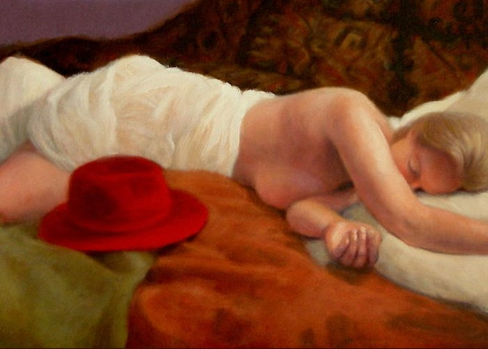 Realism Greeting Card featuring the painting Red Hat 7 by Donelli DiMaria