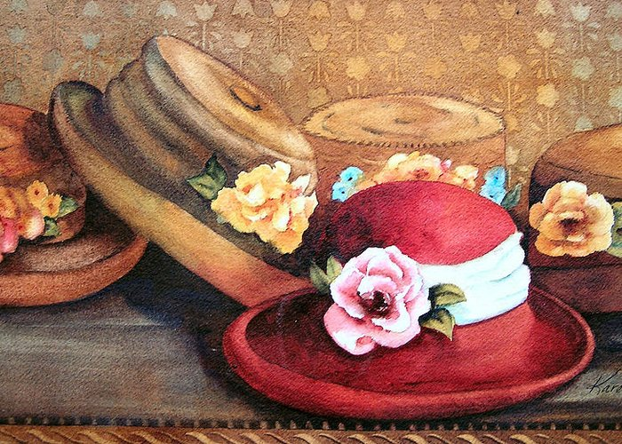 Hat Greeting Card featuring the painting Red Hat by Karen Stark
