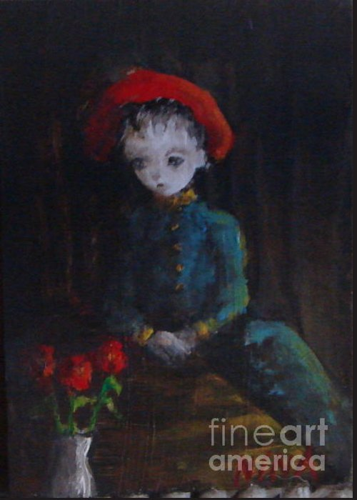 Red Hat Greeting Card featuring the painting Red Hat by Mya Fitzpatrick