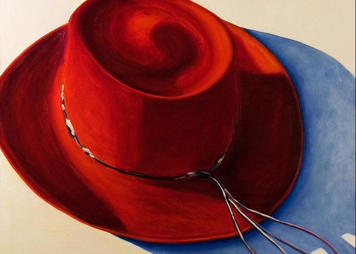 Red Hat Greeting Card featuring the painting Red Hat by Shannon Grissom