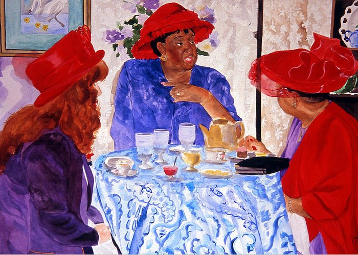 Red Hat Greeting Card featuring the painting Red Hatters Chatter by Jean Blackmer