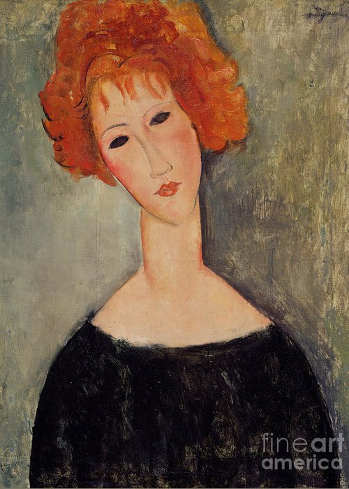 Red Greeting Card featuring the painting Red Head by Amedeo Modigliani