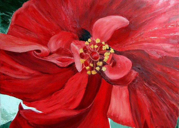 Floral Greeting Card featuring the painting Red Hibiscus by Cynthia Blair