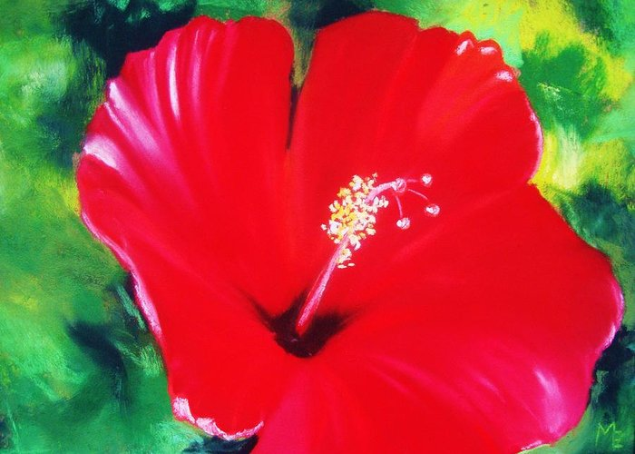 Bright Flower Greeting Card featuring the painting Red Hibiscus by Melinda Etzold