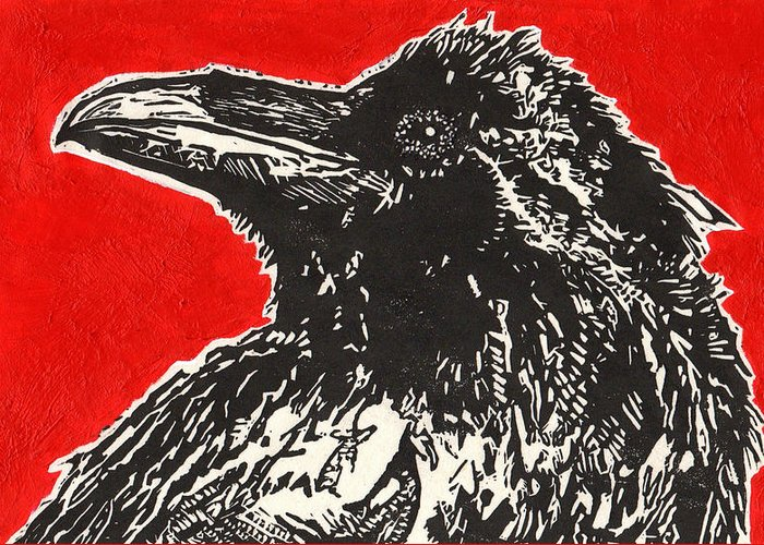 Linocut Greeting Card featuring the painting Red Hot Raven by Julia Forsyth