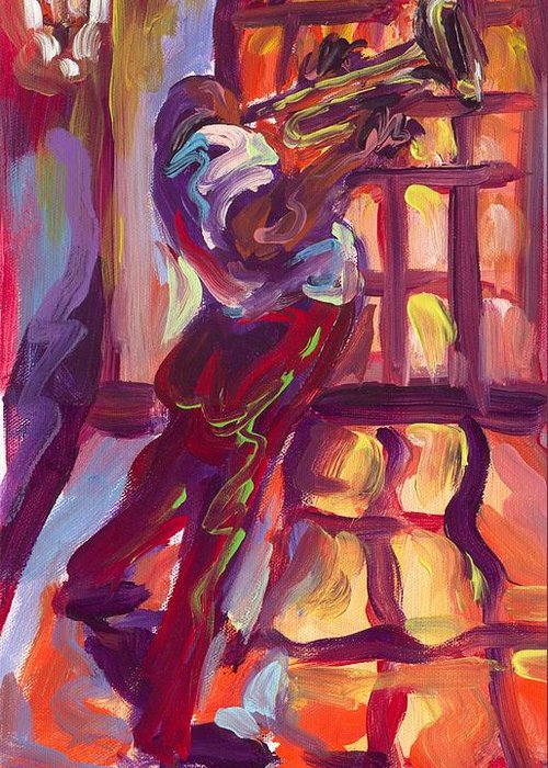 Red Greeting Card featuring the painting Red Hot Trumpet by Saundra Bolen Samuel
