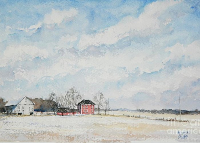 Landscape Greeting Card featuring the painting Red House Gray Barn by Mike Yazel