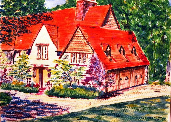 Watercolor Greeting Card featuring the painting Red House In Clayton by Horacio Prada