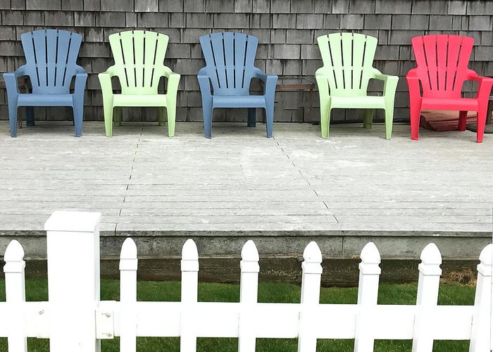 Deck Chairs Greeting Card featuring the photograph Red Hued Step-chair by Rick Locke