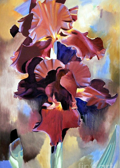 Flowers Greeting Card featuring the painting Red Irises by Michael Stoyanov
