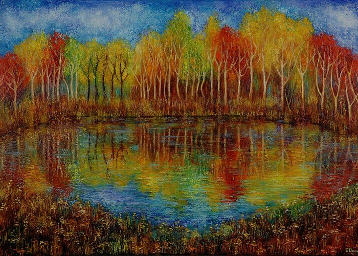 Landscape Greeting Card featuring the painting Red Lake. by Evgenia Davidov