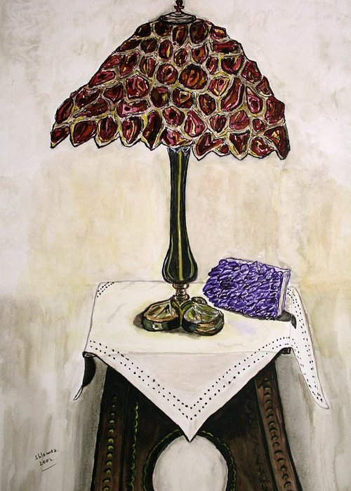 Lamp Watercolor Painting Red Lamp Watercolor Geclee Greeting Card featuring the painting Red Lamp by Shlomo Zangilevitch