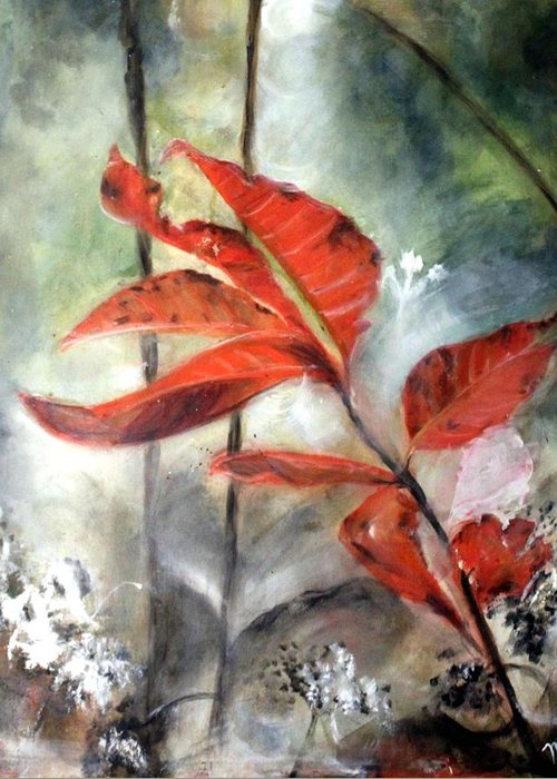 Red Leaf Greeting Card featuring the painting Red Leaves In Morning Mist by Michela Akers