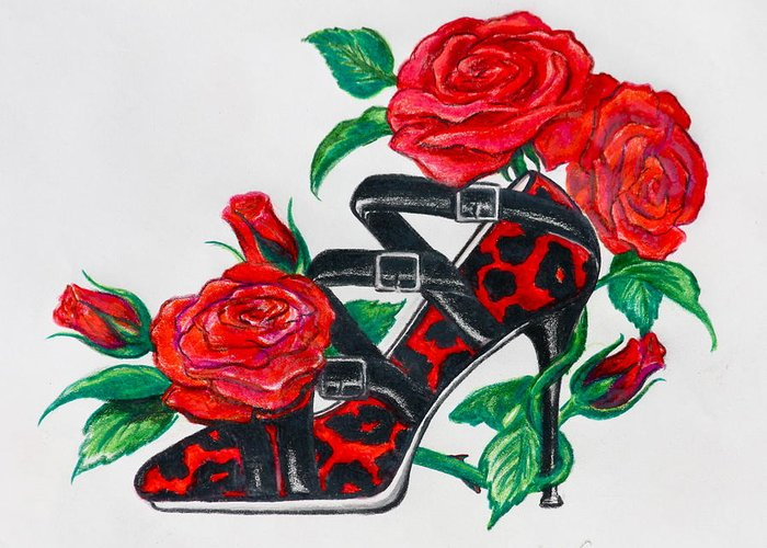 Shoe Greeting Card featuring the drawing Red Leopard Roses by Karon Melillo DeVega