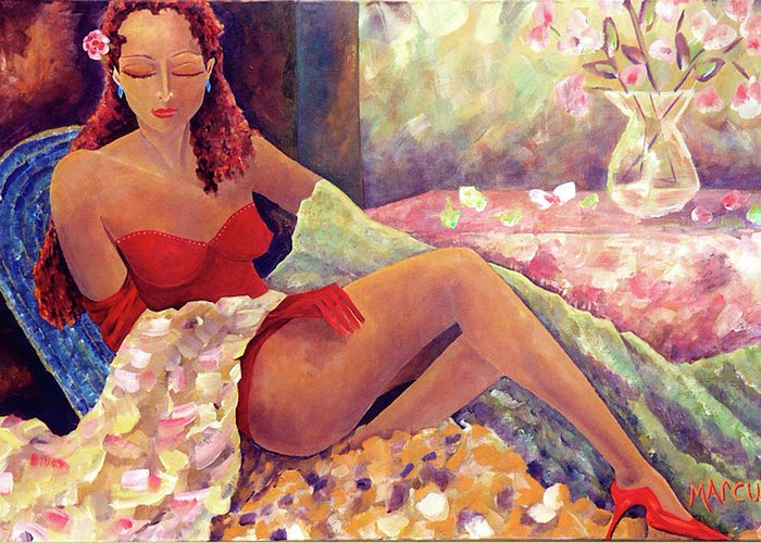 Female Greeting Card featuring the painting RED by Leslie Marcus
