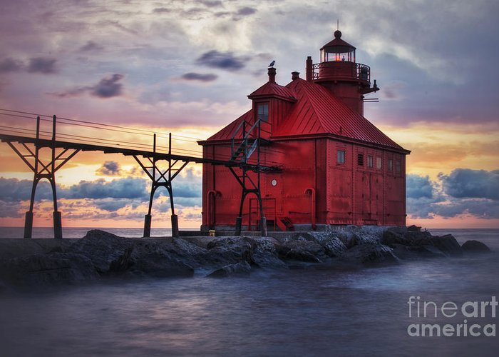Sturgeon Bay Greeting Card featuring the photograph Red Light Sunrise in Door County by Ever-Curious Photography