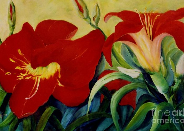 Flowers Red Lilies In Garden Greeting Card featuring the painting Red Lily by Marta Styk