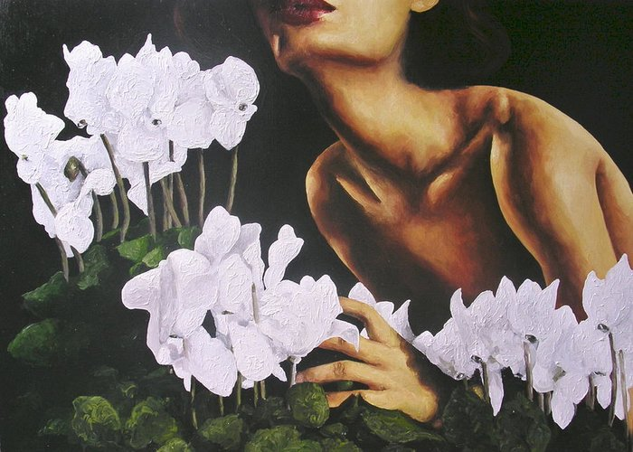 Nude Greeting Card featuring the painting Red Lips White Flowers by Trisha Lambi
