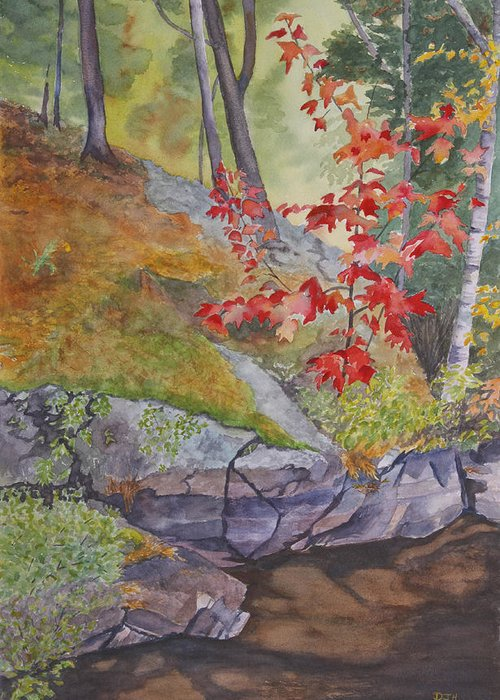 Red Greeting Card featuring the painting Red Maple Leaves by Debbie Homewood