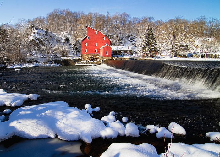 Blue Sky Greeting Card featuring the photograph Red Mill In Winter Landscape by George Oze
