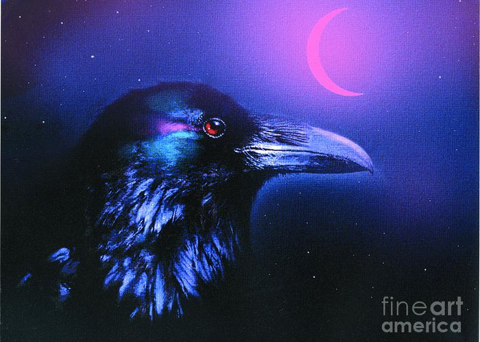 Crow Greeting Card featuring the painting Red Moon Raven by Robert Foster