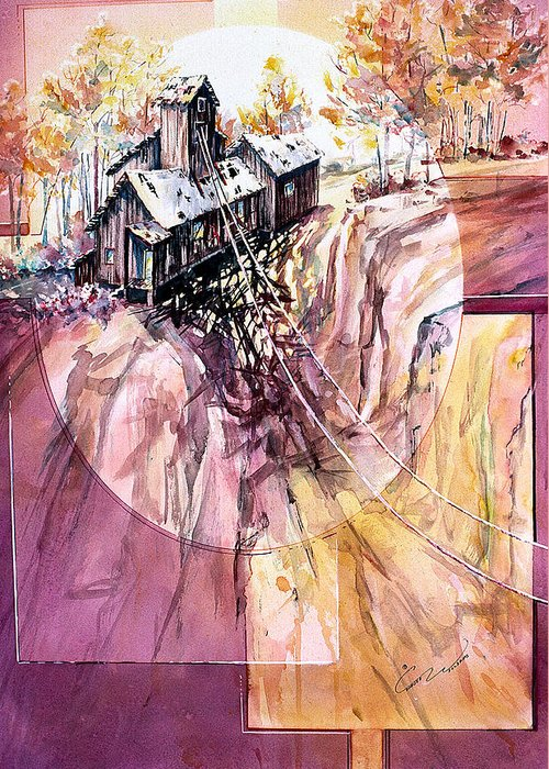 Red Mountain Greeting Card featuring the painting Red Mountain Mine by Connie Williams