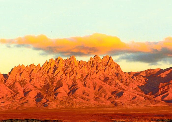 A Jack Pumphrey Photograph Of The Organ Mountains-desert Peaks National Monument Greeting Card featuring the photograph Red Mountain Sunset Organs by Jack Pumphrey