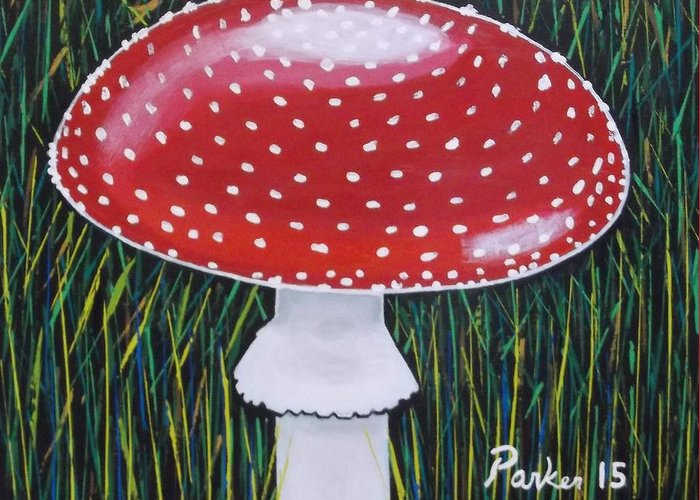Mushroom Greeting Card featuring the painting Red Mushroom by Don Parker