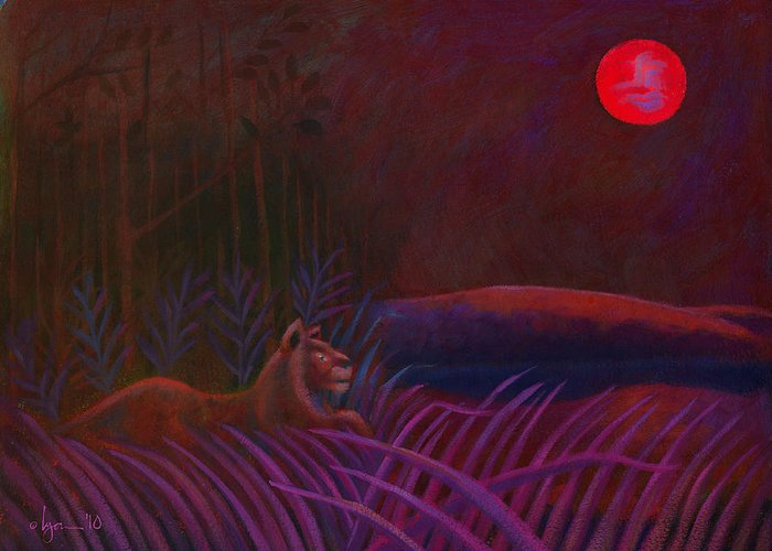 Lions Greeting Card featuring the painting Red Night Painting 48 by Angela Treat Lyon