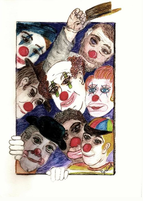 Thomas Norbeck Greeting Card featuring the painting Red Noses by Thomas J Norbeck