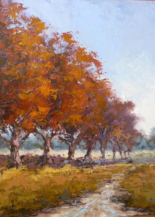 Landscape Greeting Card featuring the painting Red Oak Avenue by Yvonne Ankerman