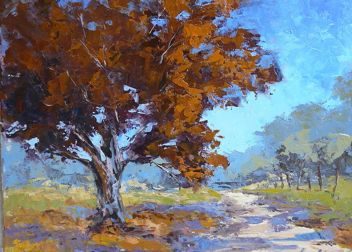 Landscape Greeting Card featuring the painting Red Oak by Yvonne Ankerman