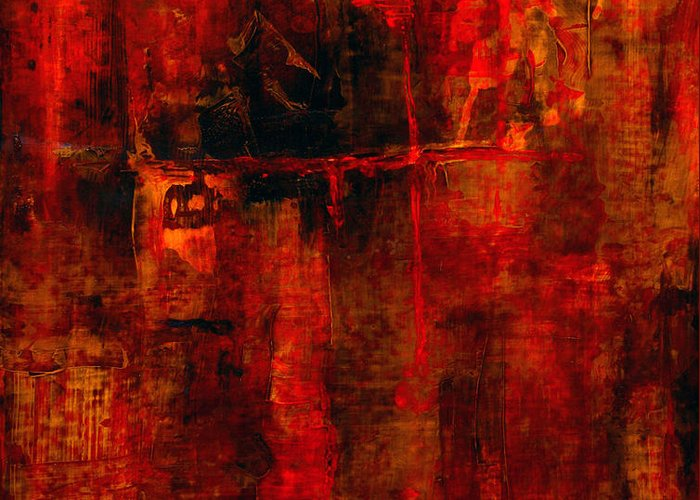 Abstract Painting Greeting Card featuring the painting Red Odyssey by Pat Saunders-White