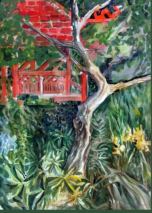Watercolor Greeting Card featuring the painting Red Pagoda by Mindy Newman