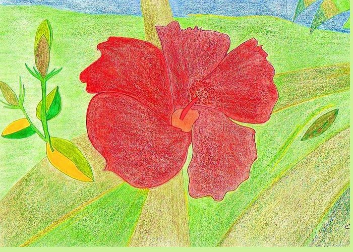 Red Flower Greeting Card featuring the drawing Red Passion by Michael Puya
