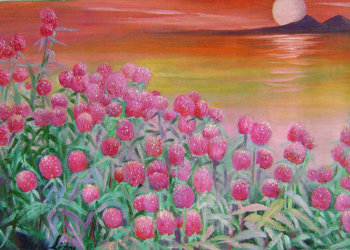Floral Greeting Card featuring the painting Red Pearls by Lian Zhen