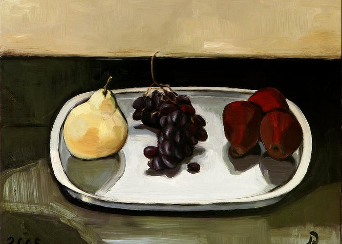 Still-life Grapes Pears Greeting Card featuring the painting Red Pears by Raimonda Jatkeviciute-Kasparaviciene
