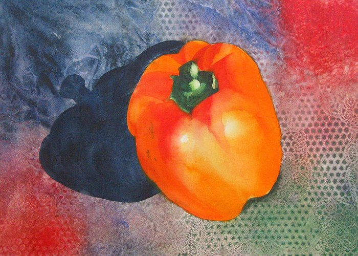 Pepper Greeting Card featuring the painting Red Pepper Solo by Jean Blackmer