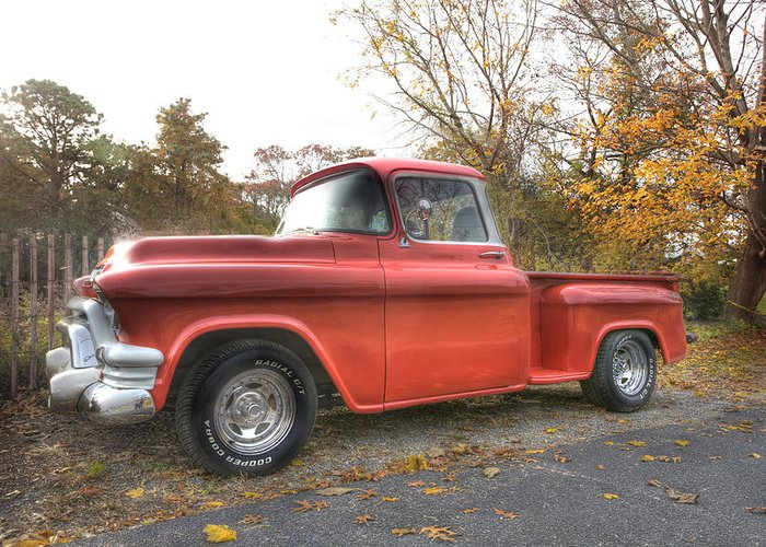 Gmc Pickup Truck Greeting Card featuring the photograph Red Pick-up by Steve Gravano