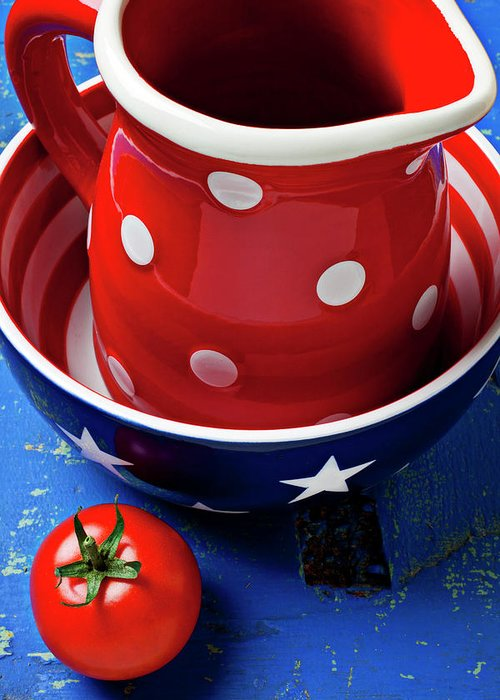 Pitcher Bowl Greeting Card featuring the photograph Red Pitcher And Tomato by Garry Gay