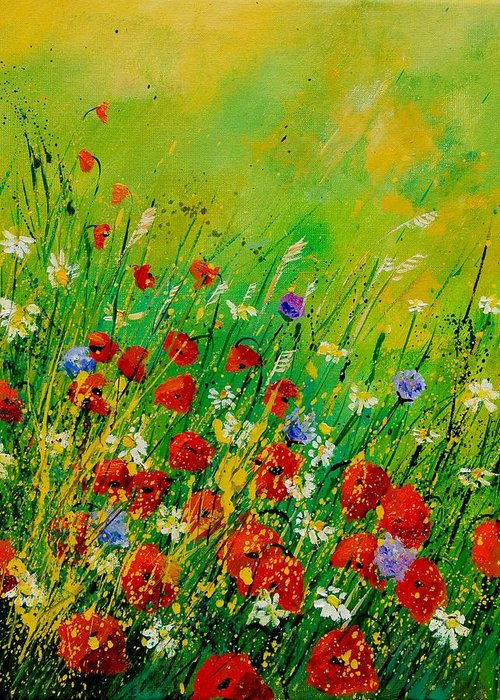 Flowers Greeting Card featuring the painting Red Poppies 450708 by Pol Ledent